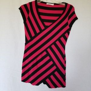 Bailey 44 pink black striped top size medium